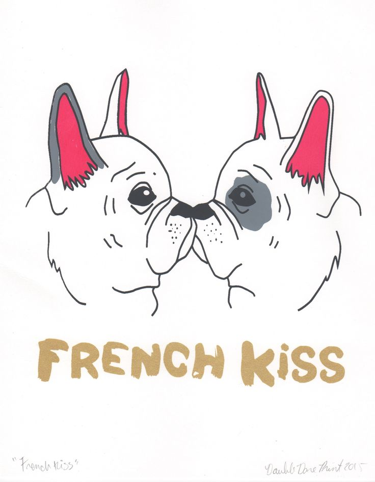These two pooches are feeling mushy! Adorn your walls with this romantic adorable silk screen print! 8 x10 standard size for easy framing Hand screen printed on high quality heavy weight paper stock Ships in a Stay Flat mailer to ensure it arrives free of damages or creases