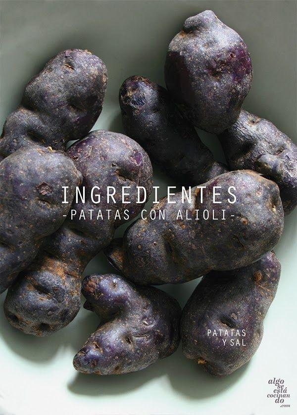 Ingredientes, patatas con alioli.