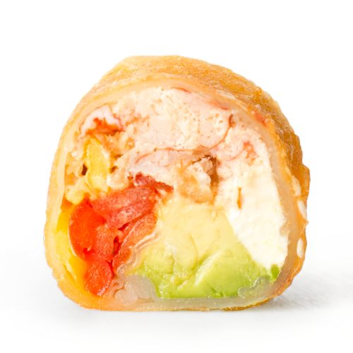SAMURAÏ Homard, avocat, un brin de fromage à la crème, jalapeno, oignon frit, poivron, sauce mât, croûte de tempura épicé