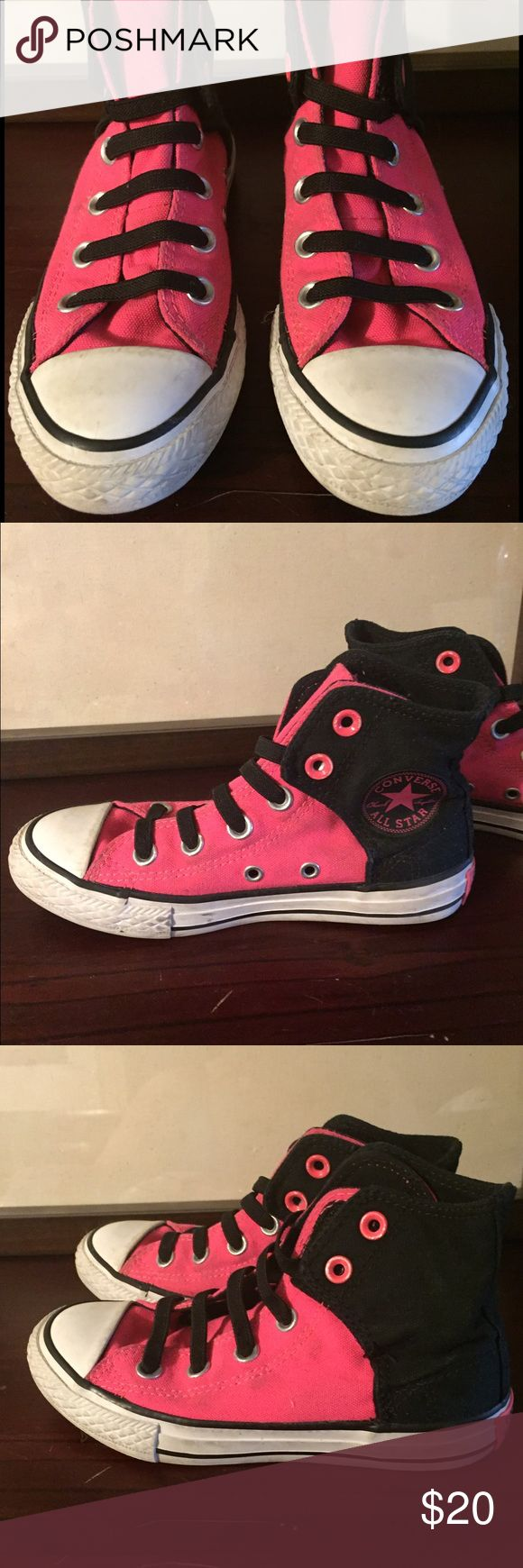 Pink and black converse girl Two tone converse for girls very good condition Converse Shoes Sneakers