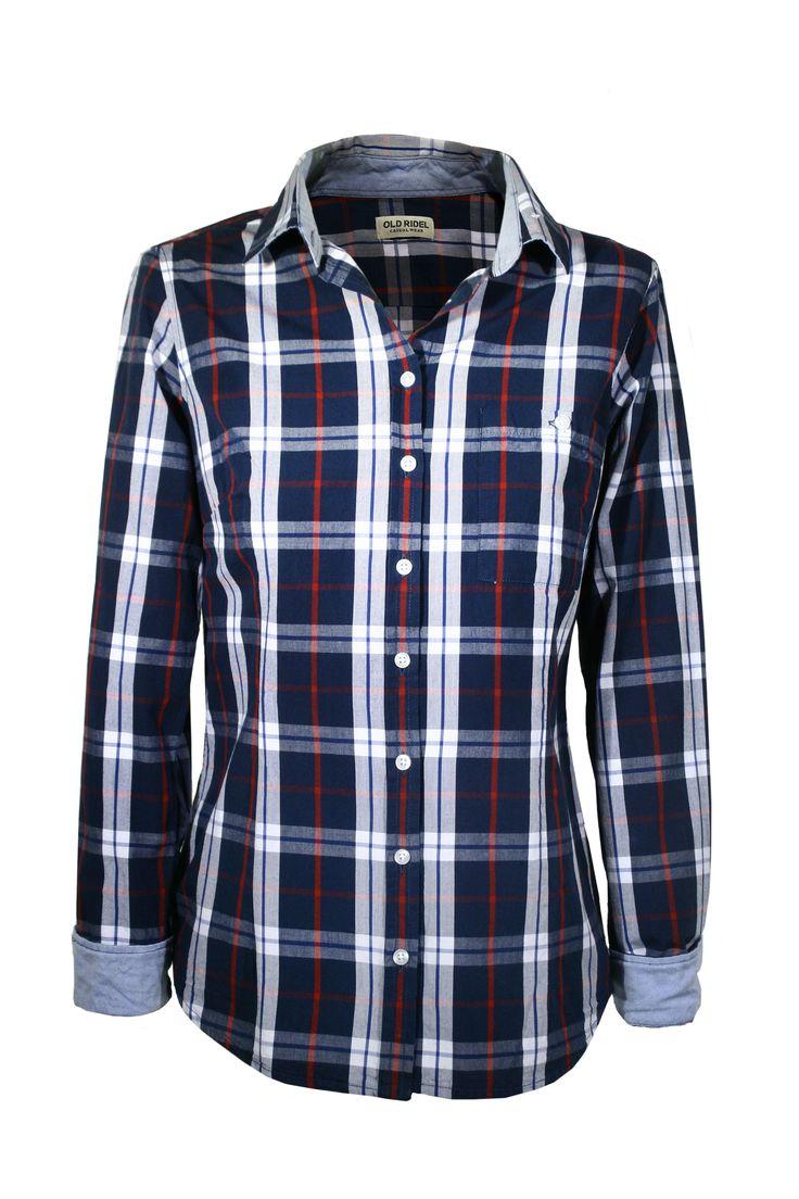 Camisa a cuadros, leñador con detalles en el cuello y puños.  fashion, tendencias, fall, autum, winter, woman  www.oldridel.com