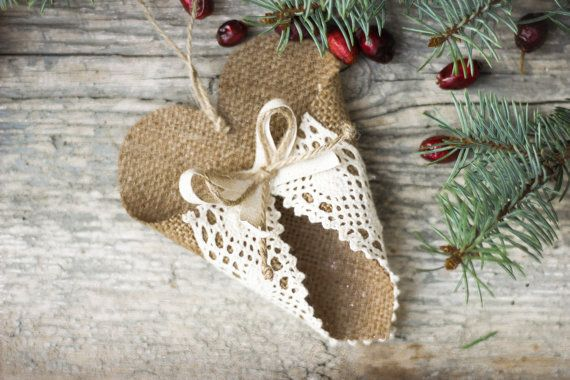 Vánoční ozdoby, Home Decor, Burlap Heart, Suvenýry, svatební dekorace, Rustikální dárek k narozeninám
