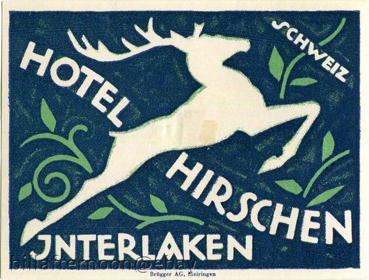 Kofferaufkleber HOTEL HIRSCHEN INTERLAKEN SCHWEIZ lugagge label