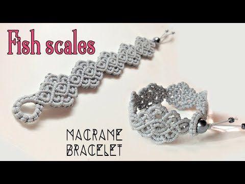 Macrame bracelet tutorial: The fish scales- Simple and elegant macrame pattern - YouTube