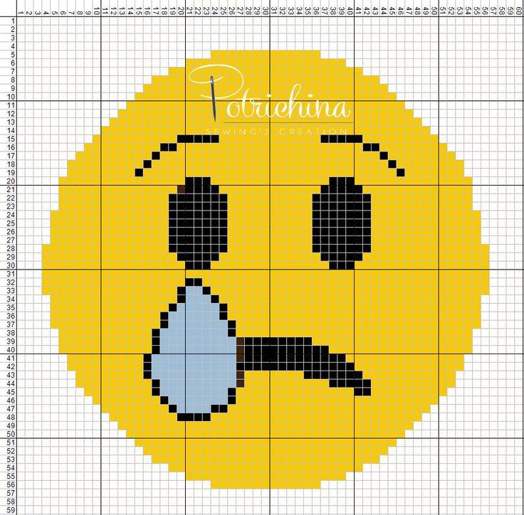 emoticon triste - schema punto croce - cross Stitch - Kreuzstich - Punto de Cruz