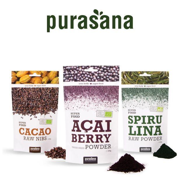 Produkty PURASANA SUPER FOOD są naturalnie bogate w makro i mikro składniki odżywcze takie jak nienasycone kwasy tłuszczowe  (omega 3/6/9), wysokojakościowe aminokwasy, witaminy, składniki mineralne, enzymy, antyoksydanty oraz wiele innych.