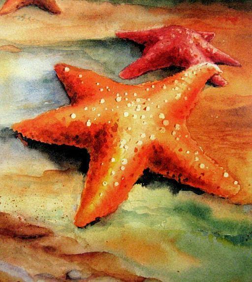 Starfish in LOVE... Coastal  Beach Decor 8X10 WATERCOLOR  Art print by Barry Singer