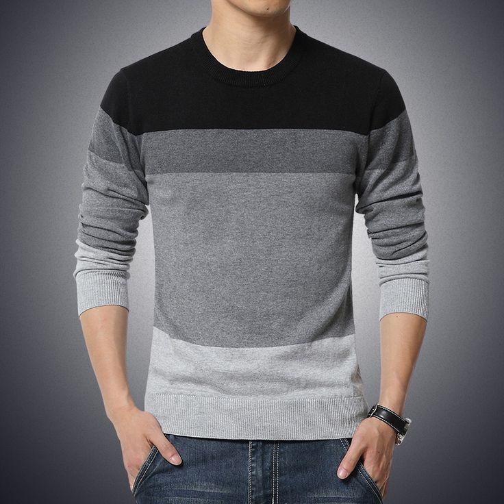 Blusas masculinas 2015 inverno new Men magro em torno do pescoço grosso camisola listras moda costura grandes homens de tamanho de camisa quente em Pulôvers de Roupas e Acessórios - Masculino no AliExpress.com | Alibaba Group