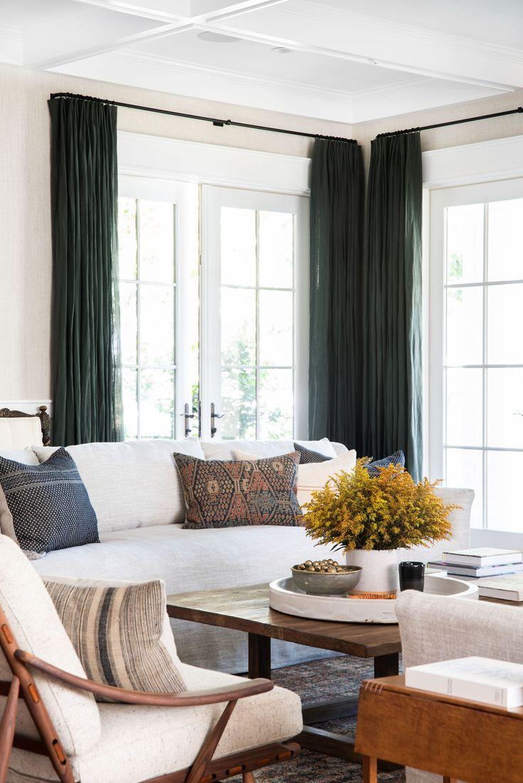 Neutral Living Room Dark Curtains Green Curtains Modern Living