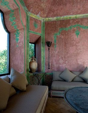 Color.  the former home of Yves Saint Laurent and Pierre Bergé >> Gorgeous!: Yves Saint Laurent, Wall Idea, Color Schemes, Pierre Bergé, Habitu Chic, Paintings Wall, Moroccan Styles, House, Pierre Balmain