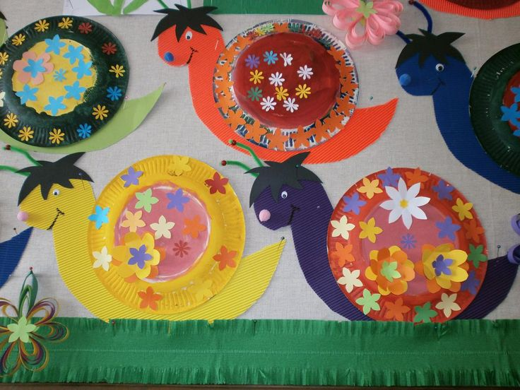 Snails made from decorated paper plates