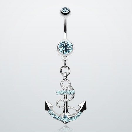 Anchor Dock Gem Belly Button Ring