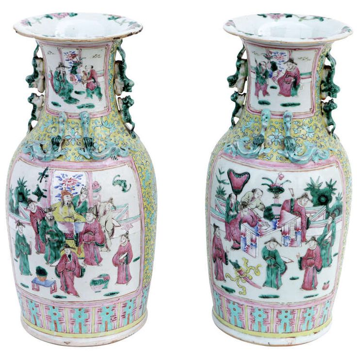 Pair of XIXth.c Canton porcelain large vases | From a unique collection of antique and modern ceramics at http://www.1stdibs.com/asian-art-furniture/ceramics/