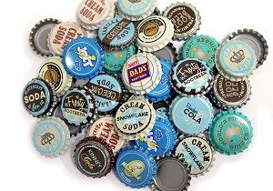 Vintage Bottle Caps -Blue Brown Mix. This site has a tons of bottle caps for sale at cheap prices. Now I can do all those cute projects without drinking 100 bottles of pop!