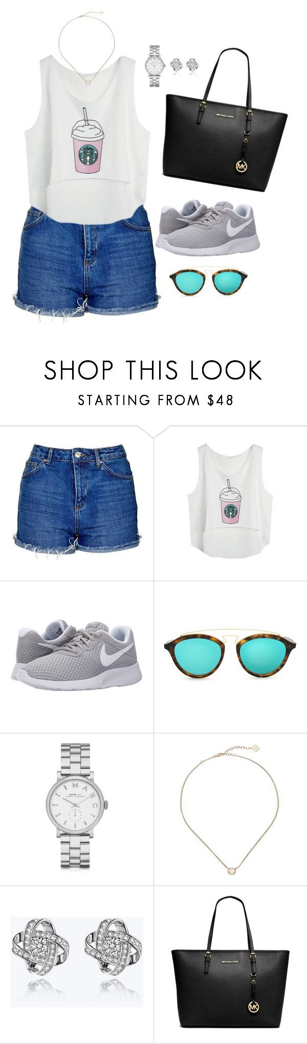 """""""Outfit 24"""" by caa123 ❤ liked on Polyvore featuring Topshop, NIKE, Ray-Ban, Marc by Marc Jacobs, Kendra Scott and Michael Kors"""
