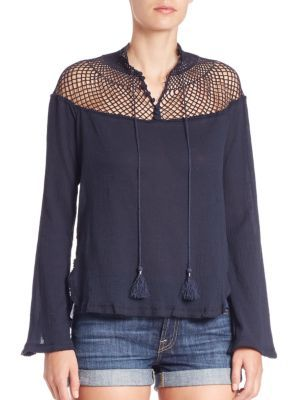 FREE PEOPLE Netted Yoke Top. #freepeople #cloth #top