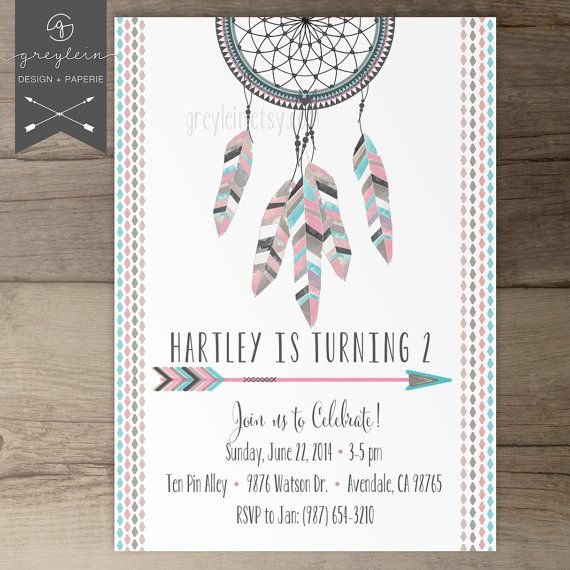 Dreamcatcher Invitations / Birthday / Baby Shower / arrows feathers tribal native / girls birthday on Etsy, $17.99