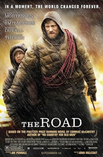 The Road. Post apocalypse, earth in nuclear winter and slowly dying. Horrifying, disturbing, thought provoking, strangely uplifting. Chad and I watched this yesterday! It was SO good.