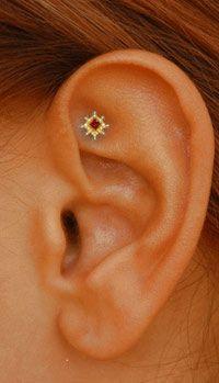 Tash Rook piercing: 18k Yellow Gold Granulated Ruby Princess