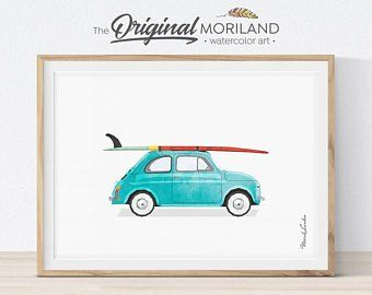 Van Print, Classic Car Art, Vintage Surf Printable, Baby Blue Wall Art, Bus Decor, Surfboard, Transportation Decor, Vehicle Print