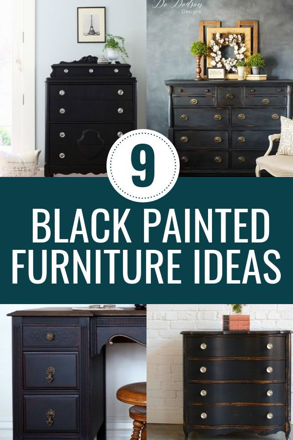 9 Black Painted Furniture Projects That Will Inspire Your Next Diy Furniture Makeover Black Painted Furniture Painted Bedroom Furniture Black Bedroom Furniture