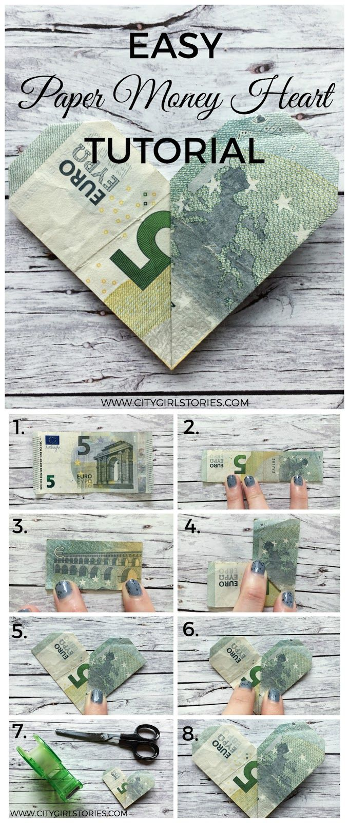 This Easy Paper Money Heart Folding Tutorial is a really lovely idea for a wedding gift or any other occasion you want to give some money but are looking for a more personal and creative way of doing so.   All you need is a dollar bill or any kind of banknote and a cellotape to fix everything.