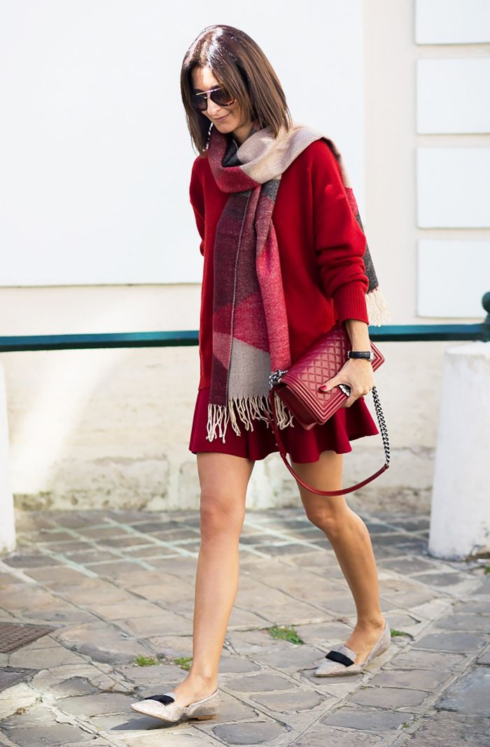 Patterned scarf paired with a red sweater dress, red leather bag, sunglasses, and pointy-toe flats