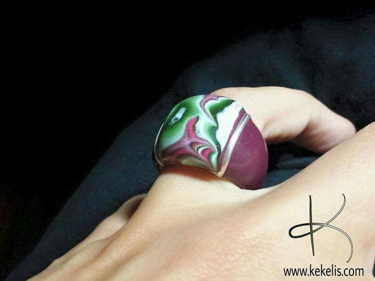 #ring #polymerclay #mokumegane #clay #fimo #handmade #faux #stone #crazylacesagates