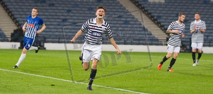 Queen's Park's Ewan MacPherson celebrates his first goal for Queen's Park during the IRN-BRU Cup game between Queen's Park and Kilmarnock Colts.