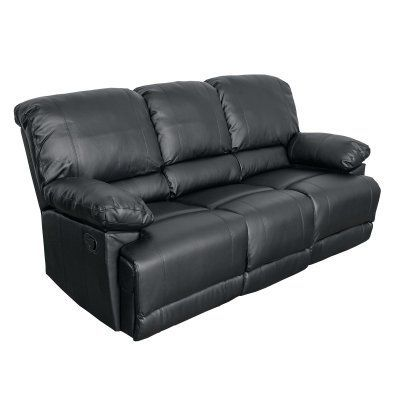 Sofa Pillows CorLiving Lea Bonded Leather Reclining Sofa Black LZY S