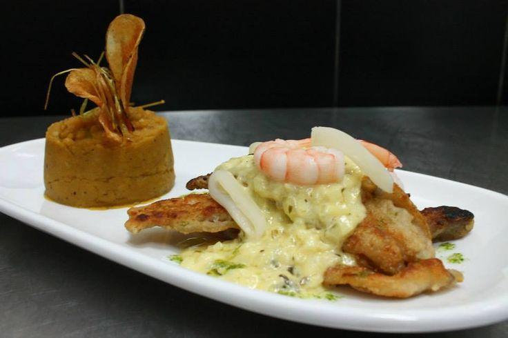 FILETE DE ROBALO EN SALSA PARMESANA  Filete de róbalo a la plancha en salsa parmesana, con camarón y calamares.