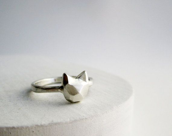 Faceted Cat Sterling Silver Ring by EveryBearJewel on Etsy