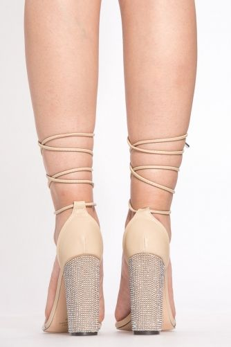 9d48cfda944a Nude Faux Leather Wrap Around Vinyl Chunky Heels