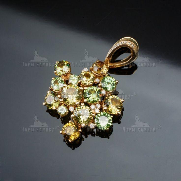 "Pendant ""Amazon""  Material: lemon gold 585, demantoids, diamonds, garnets"