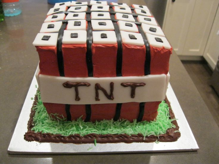 Minecraft TNT Birthday Cake. This was a hit with all the 9 year old boys!