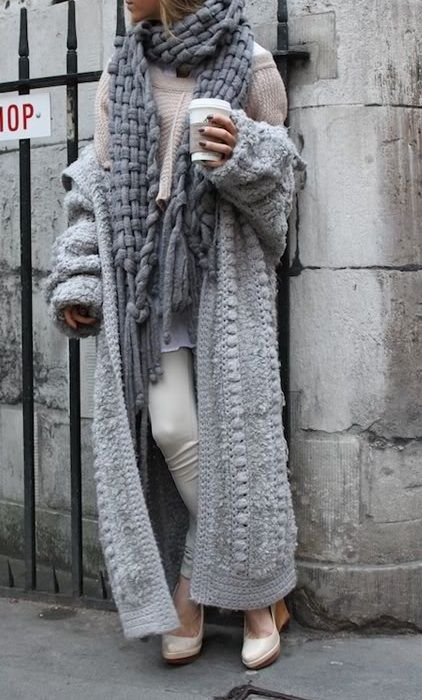 Chunky knit sweaters.