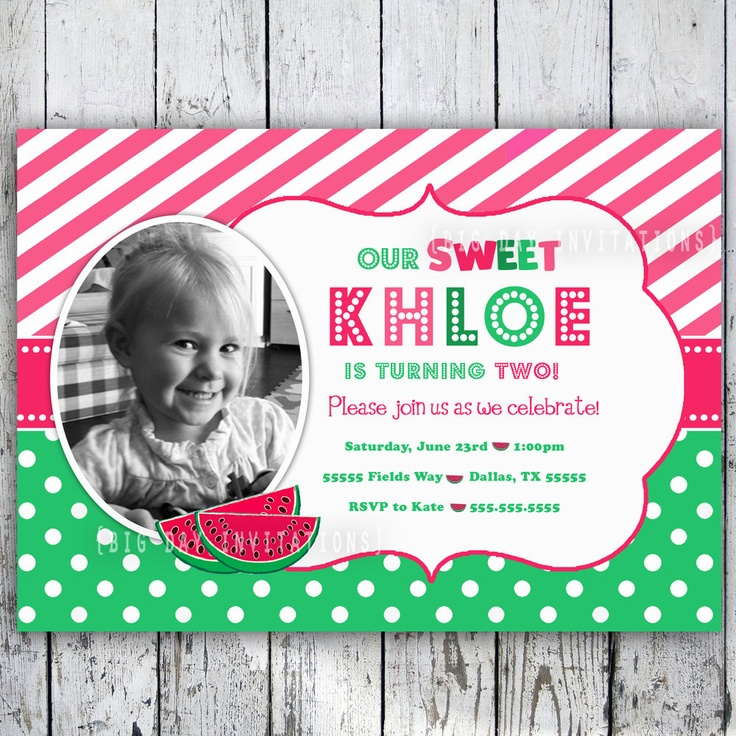 Watermelon Custom Birthday Invitation - Printable Invite 1st Birthday. $11.49, via Etsy.