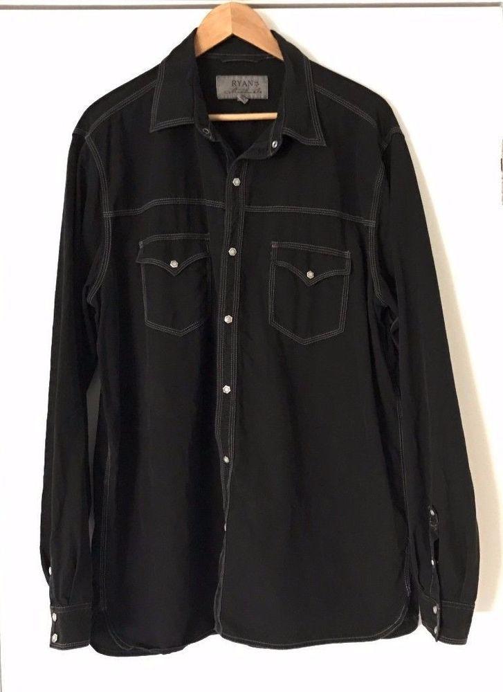 Ryan Michael Western Shirt XL Long Sleeve Black Pearl Snap Buttons Silk Blend #RyanMichael #Western