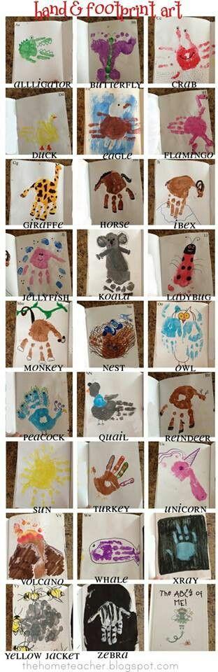 Handprint animals: use giraffe, alligator, horse, peacock? For Noah's ark