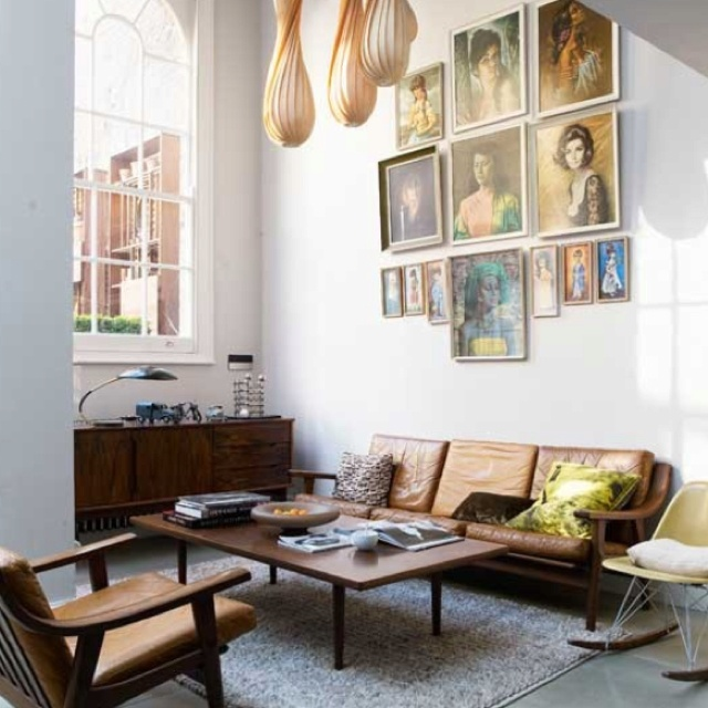 Amazing Small London Townhouse Living Room Decor   Elegant High Ceilings Large  Window Vintage Danish Modern Teak Chair And Sofa Sculptural Light Fixture  Retro Wall ...