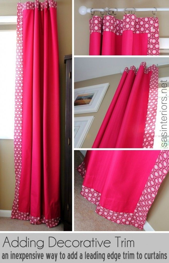 To do: How-To Add Decorative Trim to Curtains. (I'm considering doing something similar by adding narrow satin ribbon borders to my new (golden beige and rather hotel-like) blackout curtains).