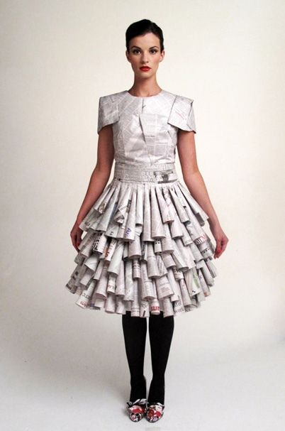 Newspaper Dress. Now that's fashion forward!