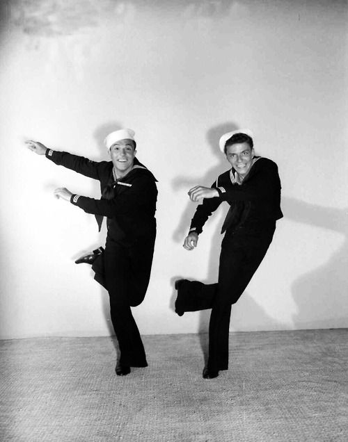 Gene Kelly and Frank Sinatra as dancing sailors. Kelly taught Sinatra how to dance in their first picture together, Anchors Aweigh.