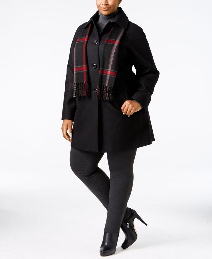 A pretty plaid scarf completes the look of this chic plus size peacoat from London Fog. | Wool/polyester/nylon/acrylic; lining: polyester; scarf: acrylic | Dry clean | Imported | Point collar | Single