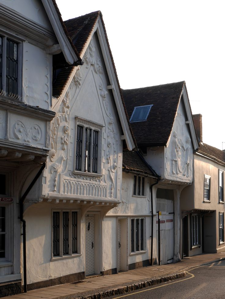 The 14th century Sun Inn at Saffron Walden in Essex, England. Note the stunning 'pargetting' the East Anglian art of moulding relief motifs in plaster