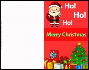 ho ho ho santa claus christmas card printable christmas cardsfree - Free Printable Xmas Cards