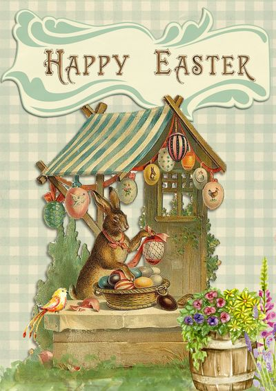 Easter Bunny Greeting Card Design Free Digital Images Vintage, GIF and Clip Art - Artsy Bee Digital Images