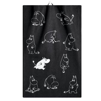 The charming Moomin kitchen towel black and white 35x50 cm comes from Ekelund Linneväveri and is woven in the weaving mill in Swedish Horred. The kitchen towel has pattern with Tove Janssons popular characters from the Moomin Valley and the black and white is suitable in every kitchen. The kitchen chores will definitely get more fun with Moomin, Little My, Sniff and Snufkin!