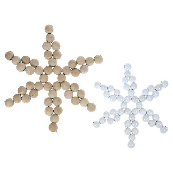 Puuhelmistä ja metallilangasta voit valmistaa kauniita tähtiä.