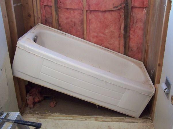 DIY Installing A New Tub  See Ikea Hacks For How To Wrap An Oddly Shaped.  Bathtub RemodelBathtub RedoBathtub ...